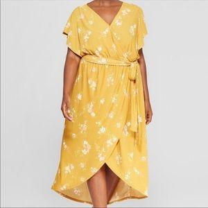 Ava & Viv Plus Size Floral Yellow Print Wrap Dress